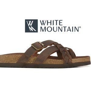 White Mountain Brown Leather Footbeds Sandals